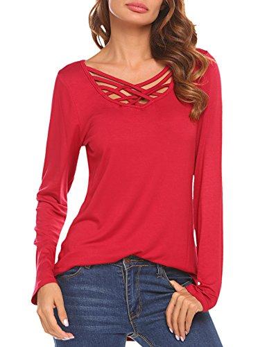 Soteer Women's Long Sleeve Criss Cross Front Shirt Deep V-Neck Casual Tee Shirts Tops (Holiday Red Top Shirt)