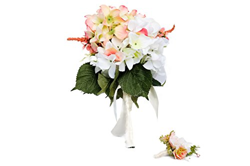 Pave Wedding Designs Lovely Package #2. Hydrangeas Silk Flowers Set - 1 Bride Bouquet and 1 Groom Boutonniere