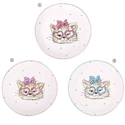 Set of 3 Kitty Faces Ceramic with Cats Plates Dinnerware Sets/Funny Plate/Kids Bowl Set/Children Gift/Cat Trinket Dishes/Decorative Cat Face Plates/Collectible Plates/Cat Lover Gift - Collectibles Dishes Childrens