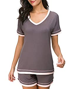 Dolay Sleepwear Sets Women's V-Neck Pajama Short Set Soft Loungewear Nightwear S-XXL