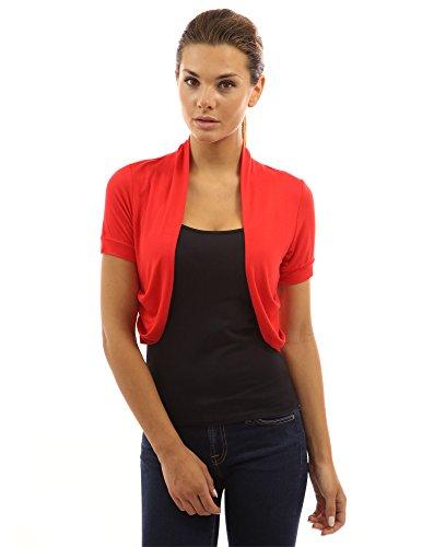 PattyBoutik Mujer pliegues en los lados bolero encogimiento Rojo