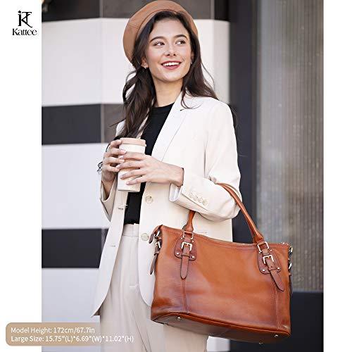 Kattee Women's Genuine Leather Handbags Shoulder Tote Organizer Top Handles Crossbody Bag Satchel Designer Purse 2