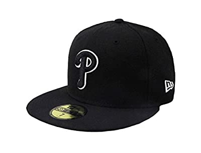 New Era 59Fifty Hat MLB Philadelphia Phillies Black/White Fitted Headwear Cap
