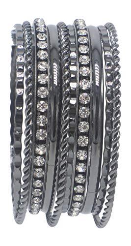 Hematite Hammered Twist Rhinestone Crystal Bangle Bracelet Set - Gunmetal Bracelet Bangle