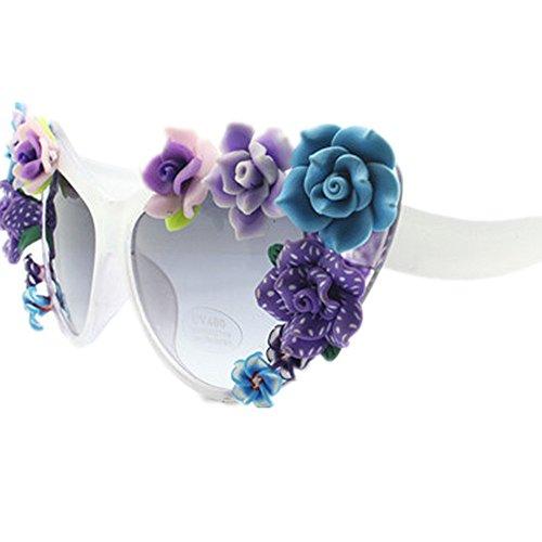 Style Flower Gu de Vacaciones de Ojos Beach sol Sunglasses Hecho Gafas a Peggy Lady's UV Summer Oversized mano gato Protección zxIdfp