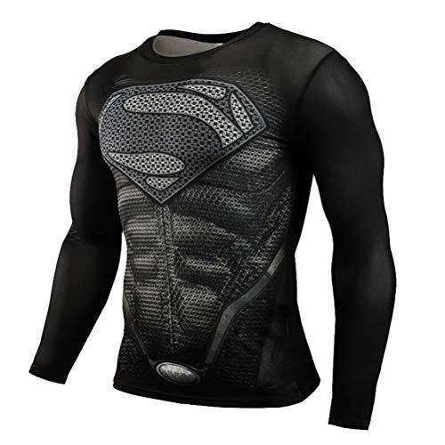 Mens Dri-fit Long Sleeve Black Spider Man Compression Athletic Shirt -
