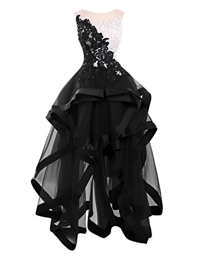 Dresses Low Black Homecoming Bridal High Organza Women's Prom Lace Bess Party q1zXvx4z