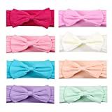8pcs Baby Nylon Headbands Hairbands Hair Bow Elastics for Baby Girls Newborn Infant Toddlers Kids (ZM09)