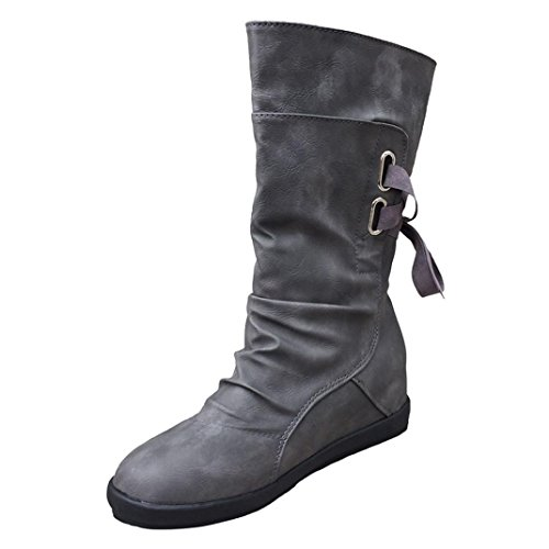 Mid-Calf Low Heel Boots, Anxinke Women's Autumn Winter Artificial Leather Slip-on Flat Boots with Lace (Grey, US:9 Foot Length:10.3-10.5