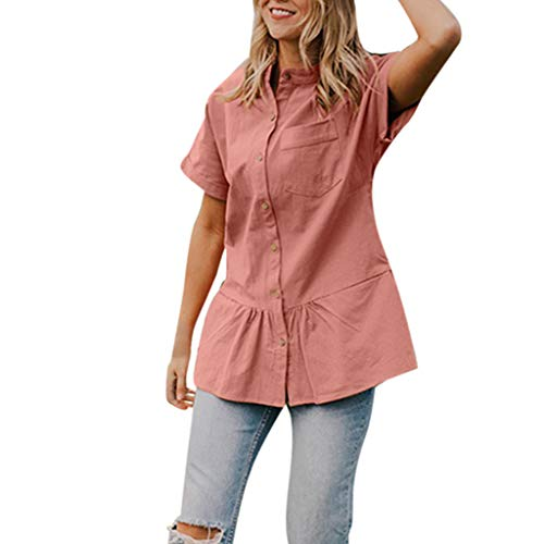 TOTOD Tunic Blouse Women Elegant Flounce Hem Button Shirts Casual O-Neck Short Sleeve Loose Solid T-Shirt - Flounce Knit