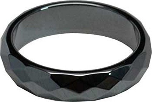 Balance Protection Hematite 6mm Faceted Diamond Shapes Fully Polished Around Ring Size 7.5 (Celtic Protection Ring compare prices)