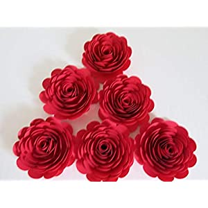 Bright Red Paper Flowers, 3 Inch Roses, Set of 6, Wedding Table Centerpiece, Love Theme Party Decorations, Bridal Shower Decor 102