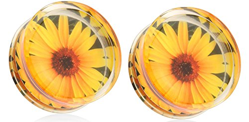 Earrings Sunflower Encased Acrylic Saddle product image