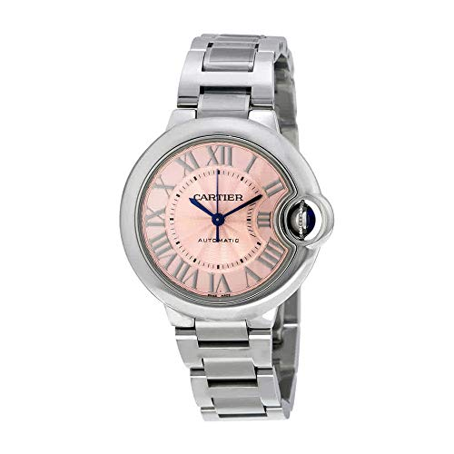 Cartier Ballon Bleu Pink Dial Stainless Steel Automatic Ladies Watch W6920100