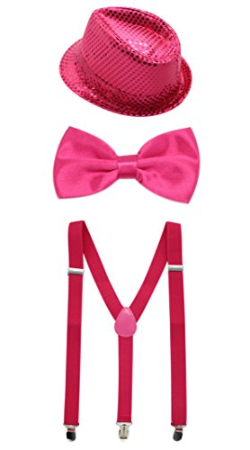 Satin Bow Fedora (JAIFEI Men's Paillette Fedora Hat With Adjustable Pre-Tied Bow Tie & Suspender For Party, Dress-up (Hot Pink))
