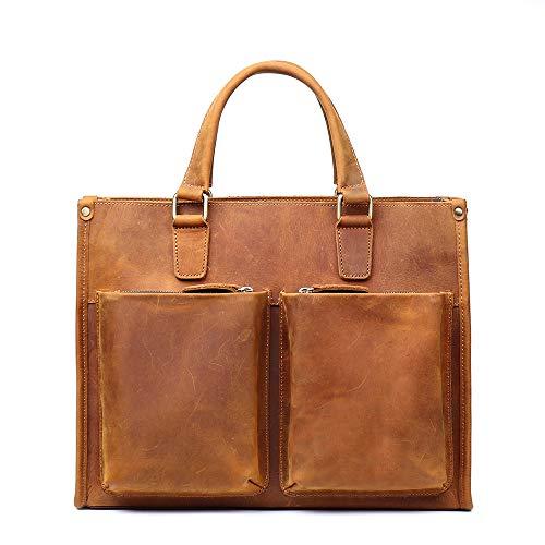 LIXUAN Ladies Leather Briefcase, Laptop Bag 14inch Waterproof Light Weight Shoulder Bag Large Capacity Handbag Travel Business School Men Women