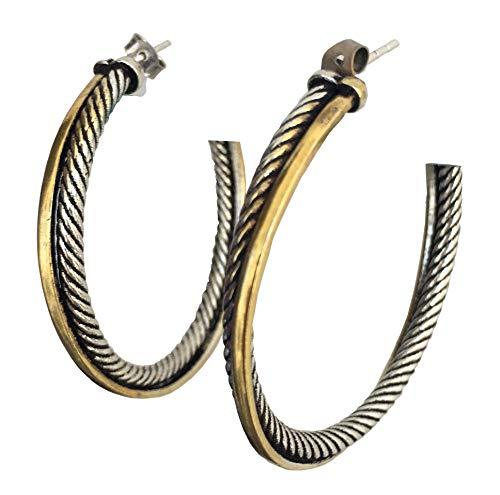 Designer Inspired 44mm Two Tone Crossover Hoop Earrings