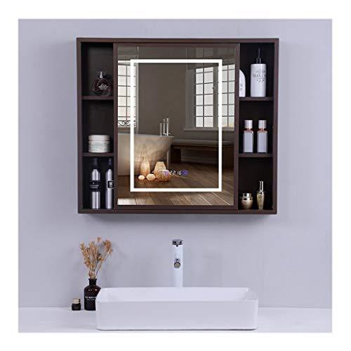 RKRZLB Bathroom Wall Storage Mirror, Design LED Illuminated Bathroom Mirror Cabinet with - Demister Bathroom Shaver Illuminated Cabinet Sensor Led Mirrors