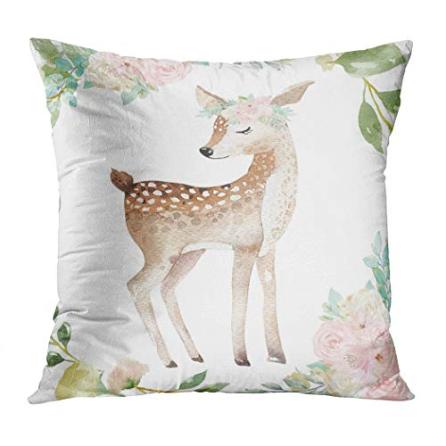 Suklly Boho Deer Woodland Blush Baby Girl Nursery Romantic Hidden Zipper Home Sofa Decorative Throw Pillow Cover Cushion Case 18x18 Inch Square Two Sides Design Printed Pillowcase