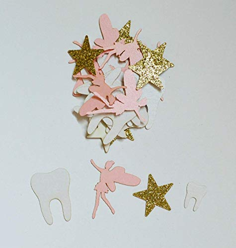 Tooth Fairy Confetti in Pink, Gold, and White - 100 Pieces