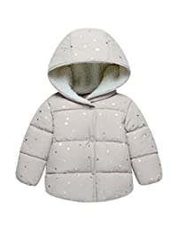 Kids Warm Cotton-Padded Jacket Coat Star Printing Baby Outwear Hood Down Jacket