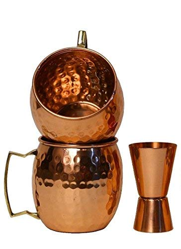 STAGLIFE Moscow Mule Copper Mugs | Copper Cups & Mug for Moscow Mules with Double Jigger Measure Cup | Hammered Finish Set of 2