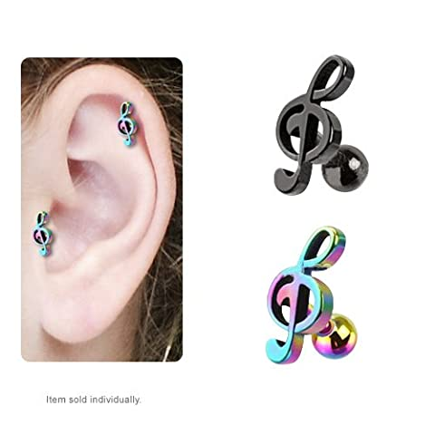 IP Treble Clef Music Note Cartilage / Tragus Stud Earring (Black) (Music Note Cartilage)