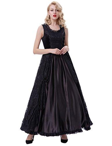 1 Kleid Kleid Corsagenkleid Lang Bp378 Poque Belle Schwarz Damen Steampunk Gothic nRE4wqvZ