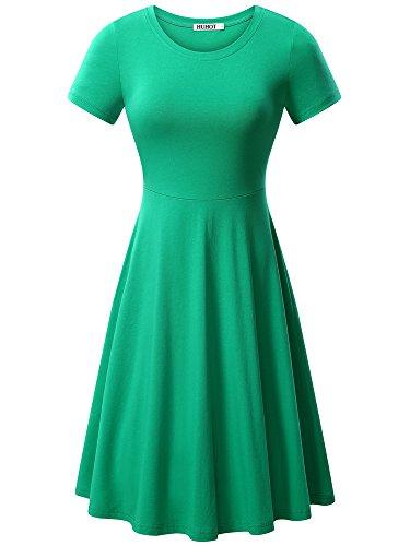 (HUHOT Women Short Sleeve Round Neck Summer Casual Flared Midi Dress(Light)