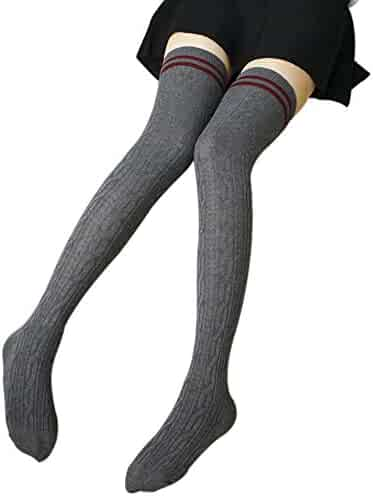 2db4547d40 ChezAbbey Womens Stripe Over the Knee High Stockings Cosplay Socks Pantyhose