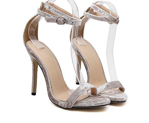 Donne YCMDM semplice più richiesti: Gold Velvet Word Crossed Buckle Tacchi alti sandali scarpe singoli pattini , apricot , 36
