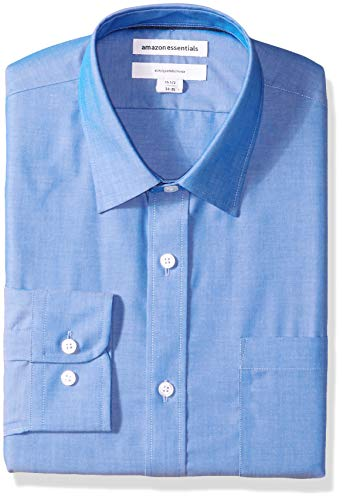 Amazon Essentials Men's Slim-Fit Wrinkle-Resistant Long-Sleeve Dress Shirt, French Blue, 15.5