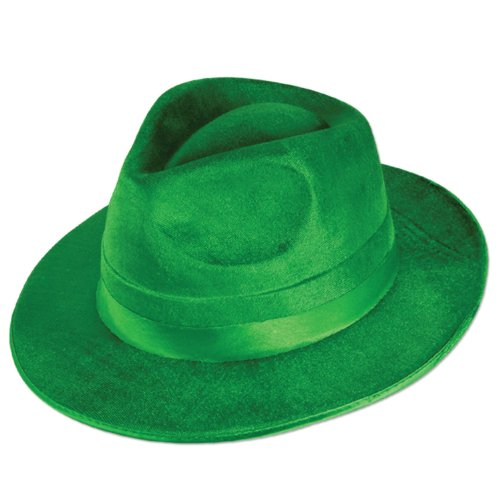 Beistle 30743 12-Pack Vel-Felt Fedoras Party Hat, Green