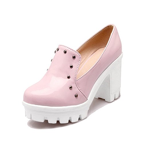 Solid Heels 42 High Women's Pumps Odomolor Pull Toe On Round Pink Shoes PU Ow8ZSFq