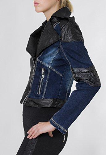 Femme Veste Noir Jck003 Avec Courte Applications Bleu amp; Pour Perfecto Jean Jeans En Cuir Imitation Caspar wXq1dCC