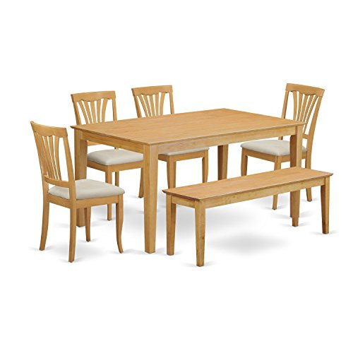 6-Pc Dinette set - Kitchen dinette Table and 4 Dining Chairs plus Wooden bench (Plus Dinettes Furniture)