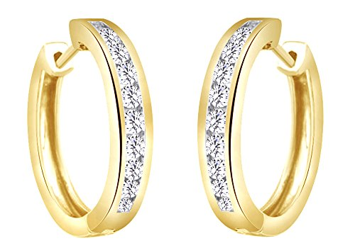 Round Cut White Natural Diamond Channel Set Huggies Hoop Earrings In 10K Solid Yellow Gold (0.5 Cttw)