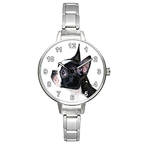 Boston Terrier Dog Ladies Stainless Steel Italian Charms ...