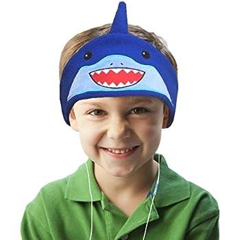 Charlxee Kids Headphones Children Girls Boys Teens Volume Limiting Foldable and Durable Headphone Headband for School, Home and Travel -Blue Shark