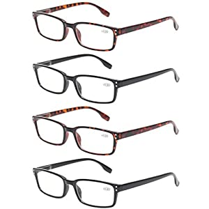 READING GLASSES 4 Pack Spring Hinge Comfort Readers Plastic Includes Sun Readers (2 Black 2 Tortoise, 2.50)