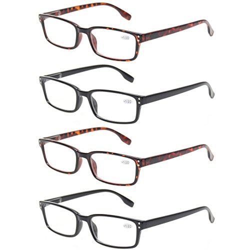 READING GLASSES 4 Pack Spring Hinge Comfort Readers Plastic Includes Sun Readers (2 Black 2 Tortoise, - Glasses Mens Rectangular