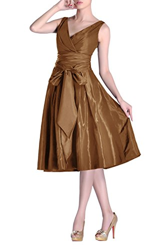 Tea Modest Pleated bridesmaids Formal Length Dress line Bridesmaid V Cocoa neck A Taffeta 8x4YSYqd