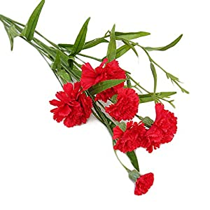 Realistic,Easy to Maintain,Party Decor 1Pc Carnation Artificial Flower Fake Plant Home Decor Wedding Party Centerpieces - Red 109