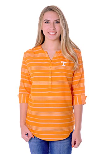 (UG Apparel NCAA Tennessee Volunteers Adult Women Stripe Tunic, Medium, Light Orange/White)
