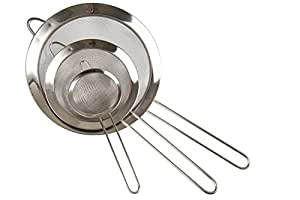 "LiangTing Set of 3 Stainless Steel Fine Mesh Food Strainers,Colander Sieve With Handle (3-1/8"", 5-1/2"" and 7-7/8"" )"