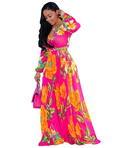 Printed Belted Empire Waist Dress - Halfword Women's Summer Long Maxi Dresses - Floral Printed V Neck Long Sleeve Wrap Boho Dreses Rose Red