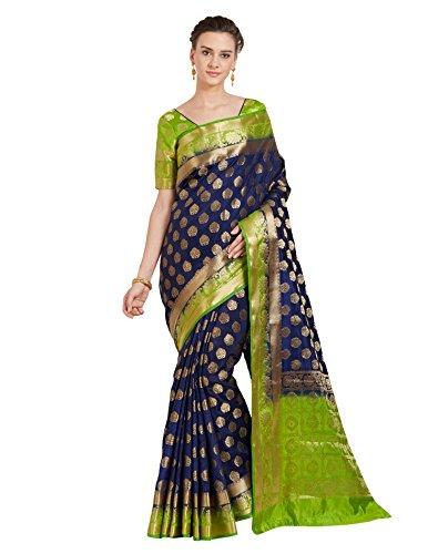 Viva N Diva Sarees for Women's Banarasi Blue Colour Banarasi Art Silk (Two Tone Silk) Saree with Un-Stiched Blouse Piece,Free Size