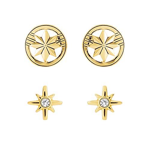 - Marvel's Captain Marvel Hala Star Logo Yellow Gold Plated Stud Earrings Set