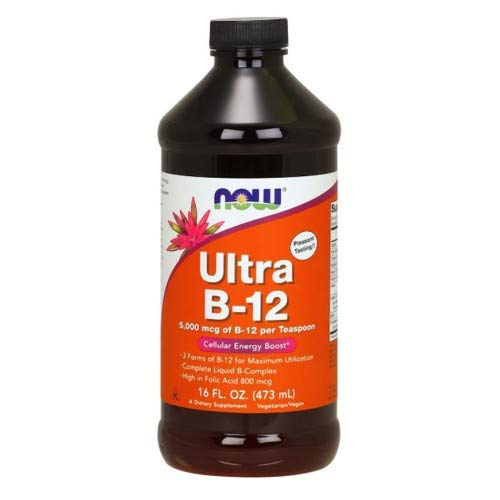 NOW Foods – Ultra B-12 Liquid Cellular Energy Boost 5000 mcg. – 16 oz. 2-Pack