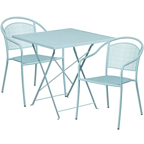 MFO 28'' Square Sky Blue Indoor-Outdoor Steel Folding Patio Table Set with 2 Round Back Chairs